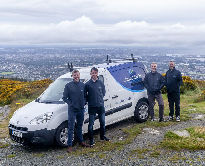 Churchfield surveyors standing on a hill in Dublin