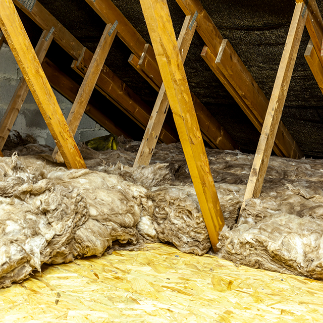 Rockwool attic insulation in an attic