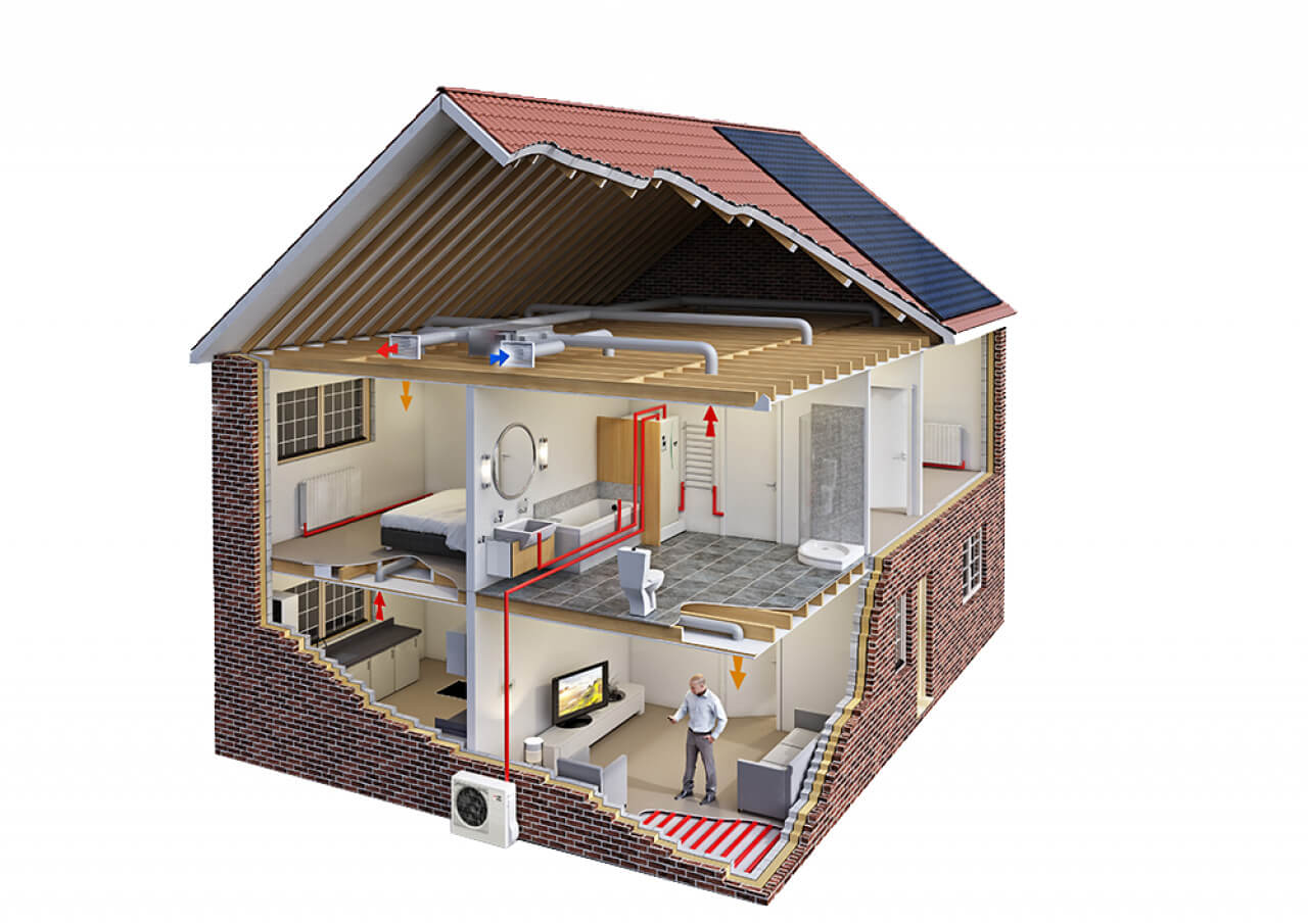 graphic showing how a heat pump works in a house